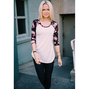 Rose Printed Sleeve Blouse