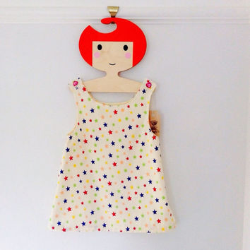 Star print baby girls pinafore dress - retro style