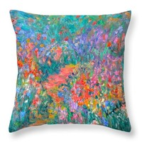 Wildflower Mist Throw Pillow