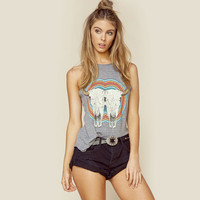 Fashion Personality Ngau Tau Pattern Print Vest Sleeveless Women T-shirt Tops