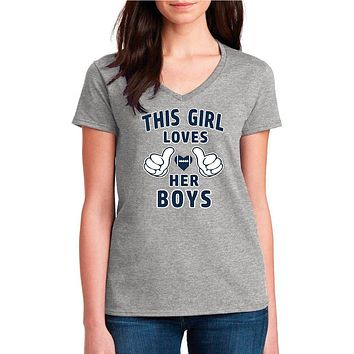 Football Mom Shirt; This Girl Loves Her Boys Women's V-Neck Tee