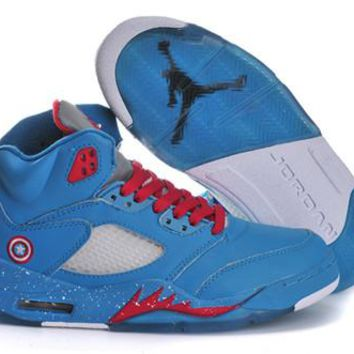 Hot Nike Air Jordan 5 Women Shoes Captain America