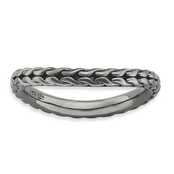 Sterling Silver Stackable Expressions Polished Black-plated Wave Ring