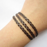 Personality leather Bracelet---three circles bracelet&brown leather braid chain