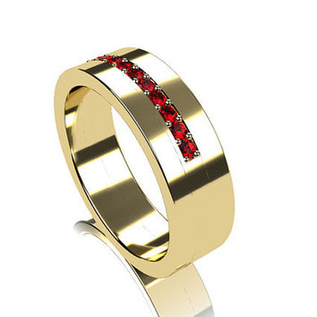 Ruby ring, yellow gold, mens wedding band, men ruby wedding ring, modern, commitment ring, white gold, men's yellow gold ring