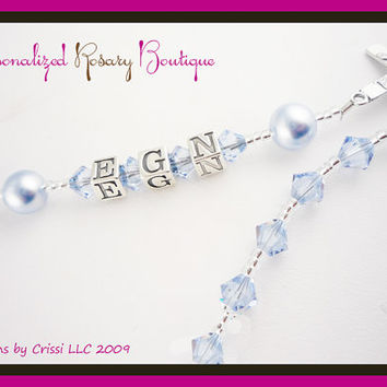 Personalized Rosary Blue Crystals and Pearls boy, baby, Baptism, Christening First Communion, Confirmation, God parent gift,  Religious Gift