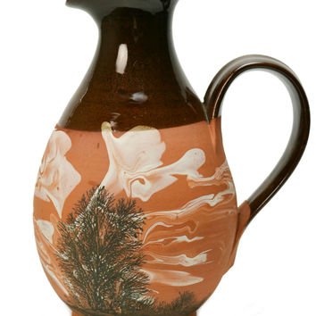 Red Pottery Oil or Water Mocha Jug with Marbled Decor by Irving Little Camelot Vintage English