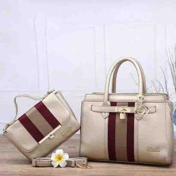 Gucci Fashion Stripe Leather Shoulder Bag Tote Fashion Handbag Set Two-Piece For WomenG
