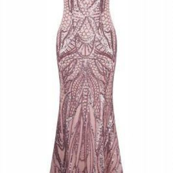 Glamorous Long Dress Evening Gown Sweetheart Fishtail Pink