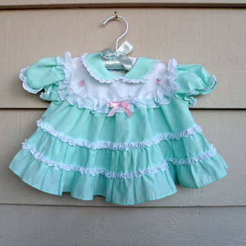 Vintage Girl - 3/6MO - Mint Green Dress with White Lace Ruffles and Peter Pan Collar - Little Precious