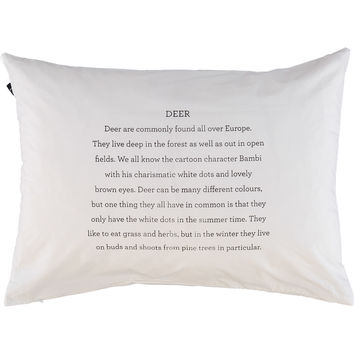 White Typographic Deer Facts Pillowcase 200TC - Bed Linen - Bed & Bath - Home - TK Maxx