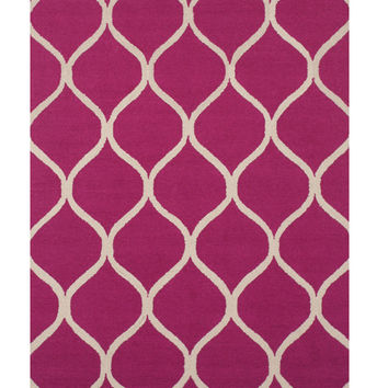 Hand-tufted Wool Pink Traditional Trellis Moroccan Rug