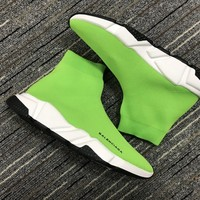 Balenciaga Speed In Green Knit And White Sole Unit Trainers - Best Online Sale