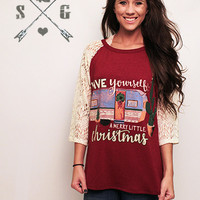 Have Yourself a Merry Little Christmas on Maroon with Cream Lace Sleeves