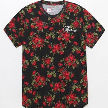 LMFONDI5 Young and Reckless Crimson Rose Scallop T-Shirt