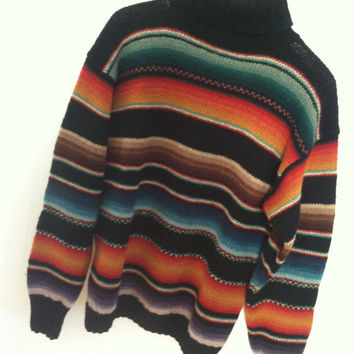 RALPH LAUREN SWEATER Hand knit Serape Indian Blanket Pattern Tribal Native Aztec Navajo Black Striped Large Blue Label Vintage Wool Polo