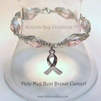 Breast Cancer  Awareness Bracelet  With Classic Silver  Plated Ribbon