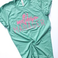 Meltdown Manager Mint Tee w/ Neon Pink Print