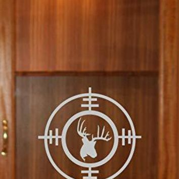 Doe Buck Hunting Gun Sight Cabinet Etched Glass Decal Vinyl Sticker