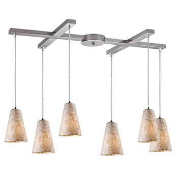 Capri 6 LED Light Pendant In Satin Nickel And Capiz Shell