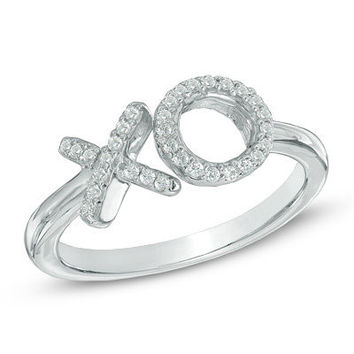 "Diamond Accent ""XO"" Midi Ring in Sterling Silver - Save on Select Styles - Zales"