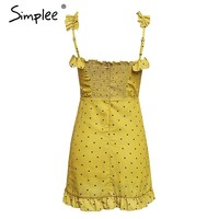 Simplee Summer vintage strap ruffle femme dress Sexy V-neck lace up women dress Elegant elastic waist dress vestidos 2018