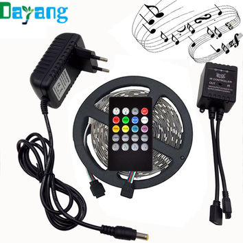 RGB LED Strip Light 5050 10M 5M 30Leds/m led Tape Waterproof diode ribbon 44Key/24Key/Music Remote Controller DC12V adapter set