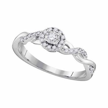 10kt White Gold Womens Round Diamond Solitaire Twist Bridal Wedding Engagement Ring 1/5 Cttw