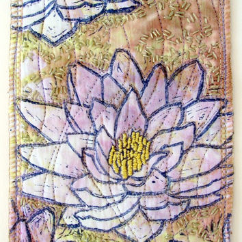 Fiber Art, original mini art quilt, water lily linocut print with embroidery, hand dyed cotton muslin