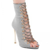 Cici Lace up Heel With Gold Details In Grey Faux Suede