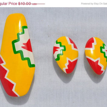 HUGE SALE Vintage Vibrate Tribal Print Brooch and Earring Set, Pin, Philippines Retro Yellow, Red, Green