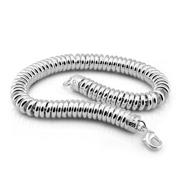 Punk Style 7mm 20cm Woman And Men Bracelet 100 Sterling Silver Jewelry Fashion Solid 925 Silver Curb Cuban Chain  Bracelet Gift