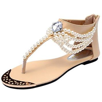 Women's Beach Thong Sandals Odema Summer Bohemian Rhinestone Beaded Zip Flat Rhinestone