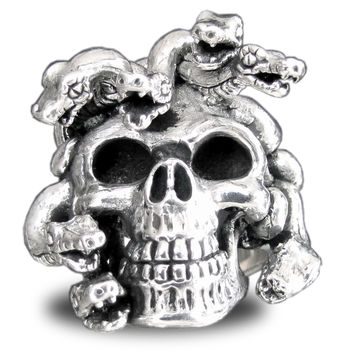 Sterling Silver Medusa Skull Ring with Intricately Carved Snakes