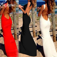 Summer Style Fashion Women Maxi Party Dresses Sexy Backless Strapless Red White Black Long Dress Cotton Vestidos Hot Selling