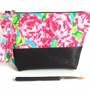 Small Makeup Bag, Floral Makeup Bag, Faux Leather Pouch, Pink Floral Pouch, Small Zipper Pouch