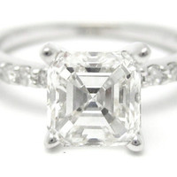 156ctw ASSCHER CUT prong set ETERNITY diamond by ninaellejewels