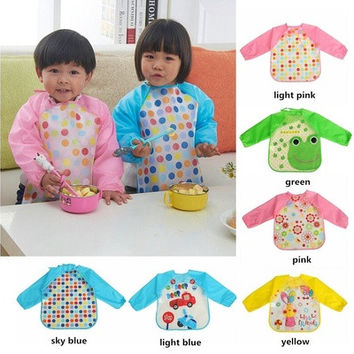 Cute Baby Toddler Waterproof Long Sleeve Kids Feeding Art Smock Bib Apron [9305899335]