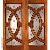 Mahogany Prehung Double Front Doors with Triple Glazed Glass, Circle