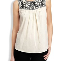 Lucky Brand Geo Embroidered Top Womens - Natural Multi