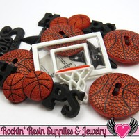 Jesse James Buttons 11 pc BASKETBALL SPORTS Buttons and Flatback Cabochons