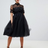 Chi Chi London Maternity high neck tulle midi dress with floral applique at asos.com