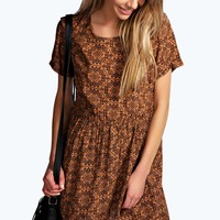 Andrea Woven Printed Short Sleeve Smock Dress