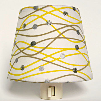 Yellow and Gray Nursery Night Light - White, Yellow and Grey Nursery Decor with Silver Sparkles