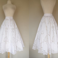 1980's white eyelet skirt, fit and flare high waist 80's does 50's cotton skirt, button down full A line circle style skirt, Large, US 10
