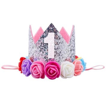 Cool Hat Gifts Baby Girl First Birthday Party Hat Decorations Hairband Princess Queen Crown Lace Hair Band Elastic Head WearAT_93_12