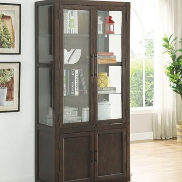 Acme 90302 Alanus walnut finish wood curio cabinet