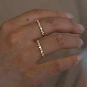 925 Sterling silver Clear cz opal engagment band silver cz eternity band simple thin fashion finger Midi Lovely ring