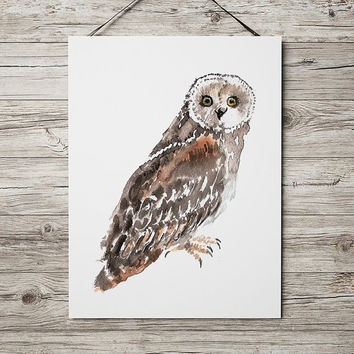 Nursery watercolor Short eared owl poster Cute bird art print ACW157