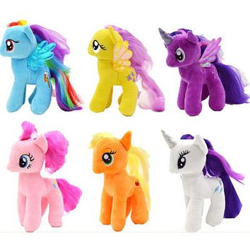 Children's 18cm little Rainbow Horse Toys Cartoon Animal Plush Doll Rarity Pinkie Pie Fluttershy Twilight Sparkle Rainbow Dash